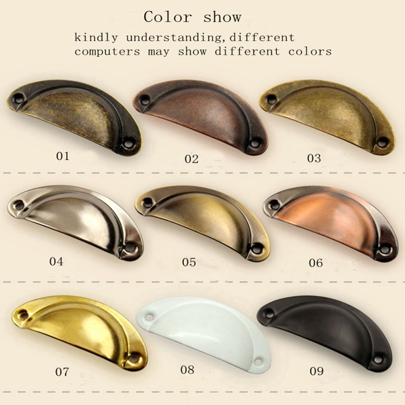 SDCM 2PCS Retro Metal Kitchen Drawer Cabinet Door Handle and Furniture Knobs Handware Cupboard Antique Brass Shell Pull Handles Color : Green Bronze