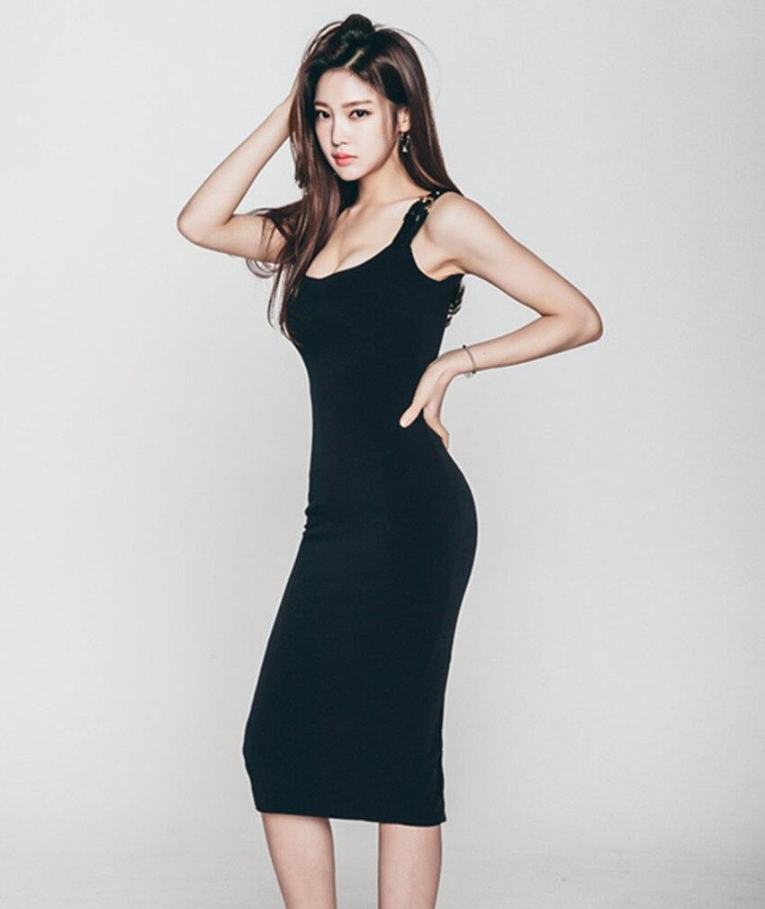 Business Summer Women Sheath Dress 2018 Korean Style Solid Spaghetti