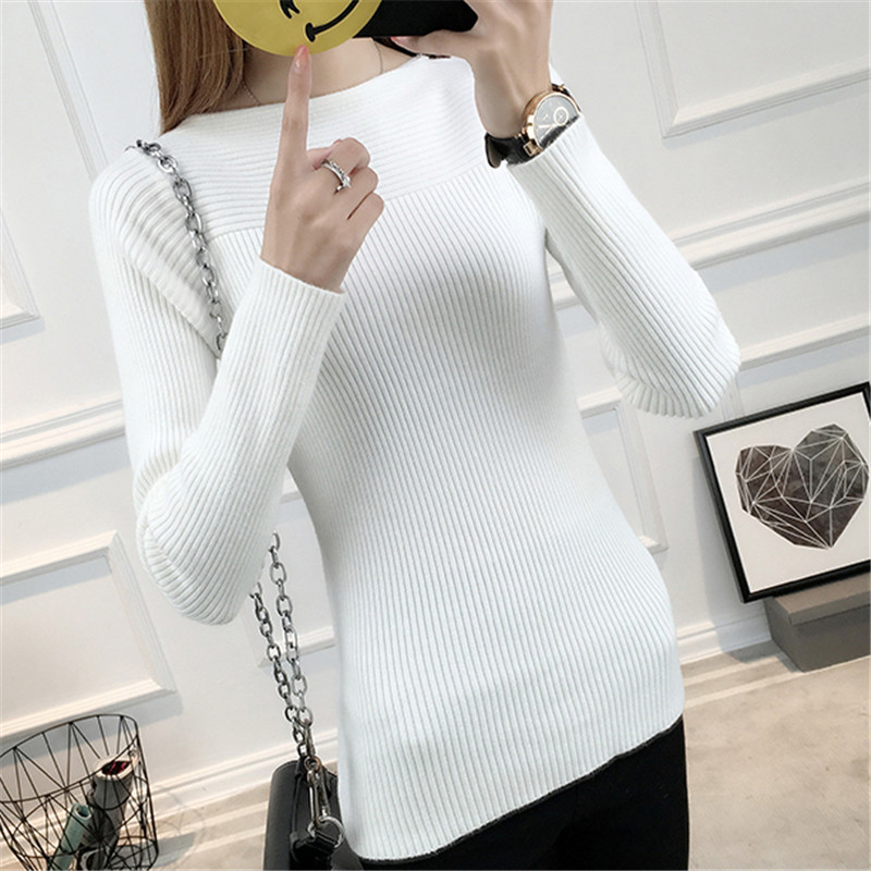 Winter Pullover Women Knit Bottoming Sweater 2018 New Fashion Warm Pullover Sweater Slim Thicken Winter Tops Female Sweater N565