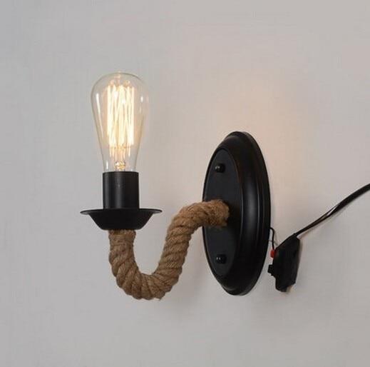 Nordic Industrial Retro Loft LED Hemp Rope Wall Lamp Metal Indoor Lighting Home Fixtures Sconce Light for Aisle Bedroom Bedside