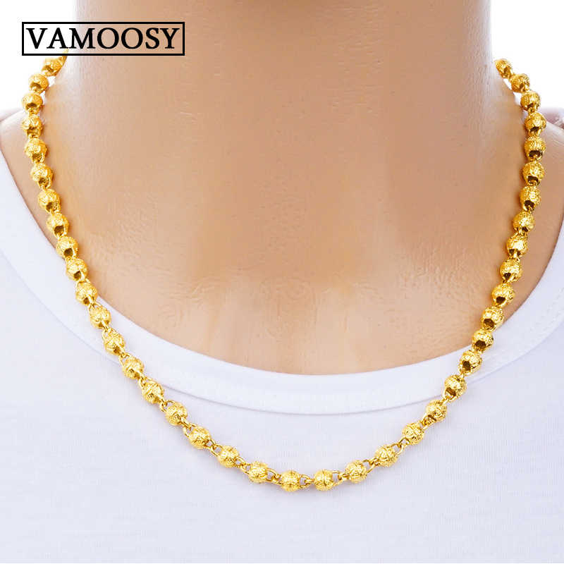 Men Necklaces Chains 2018 Fashion Pure 24k Gold Necklace Beads Choker Filled Curb Cuban Long Necklace Chain Charm Male Jewelry Aliexpress