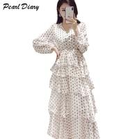 2019 New Spring Dot Chiffon Dress Women Sexy V Neck Layers Ruffles Party Long Dress Vintage A line Long Sleeve Maxi Cake Dress