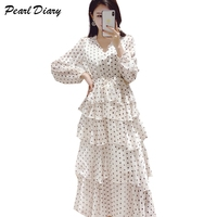 2019 New Spring Dot Chiffon Dress Women Sexy V Neck Layers Ruffles Party Long Dress Vintage A line Long Sleeve Maxi Cake Dress