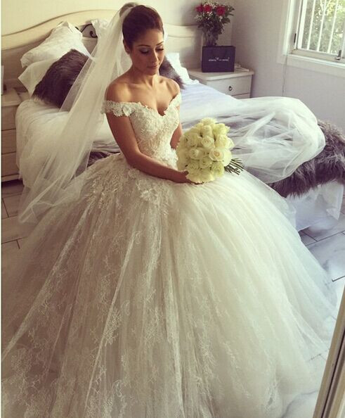 Wedding Dress Lace Flowers : Flowers lace arabic ball gown wedding dress tulle bridal