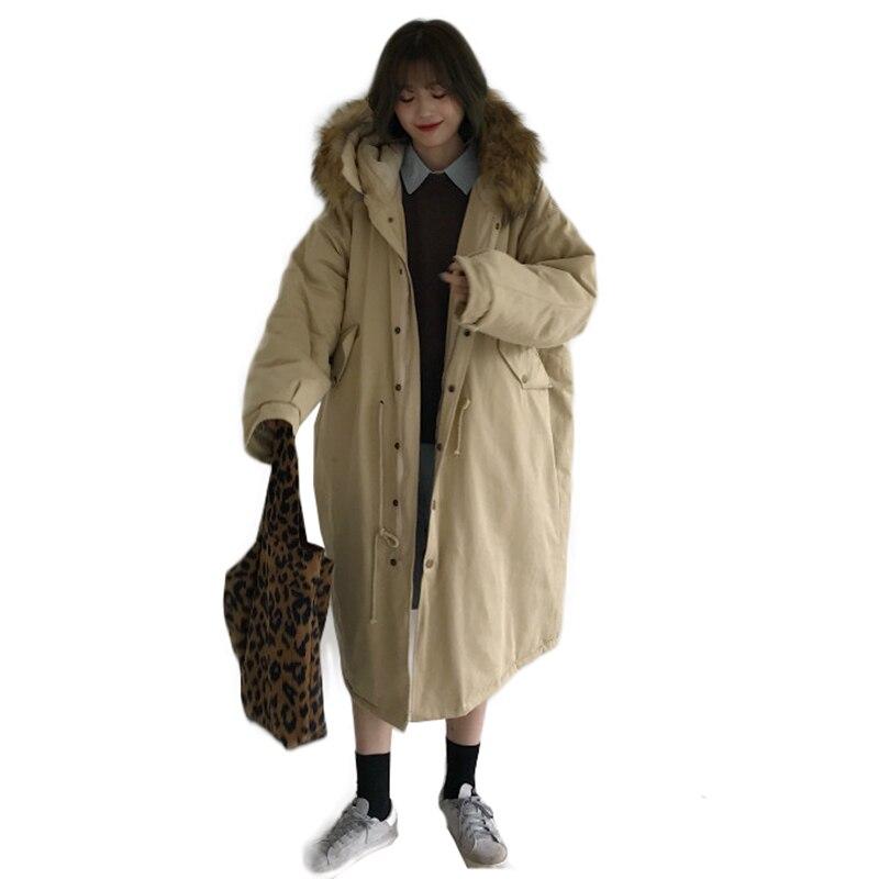D'hiver Épais De Rembourré Coton khaki Femme Grande Pardessus Lâche Chaud Veste Black Taille red Femmes Parka RqExFtfF