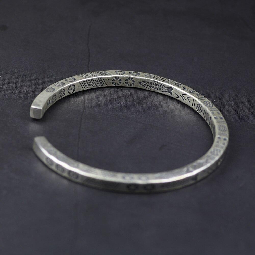 W stylu Vintage stałe prawdziwe srebro 925 ryby mankiet bransoletki dla kobiet i mężczyzn skręcone typu opaska na ramię mężczyzna biżuteria w Bransoletki od Biżuteria i akcesoria na  Grupa 3