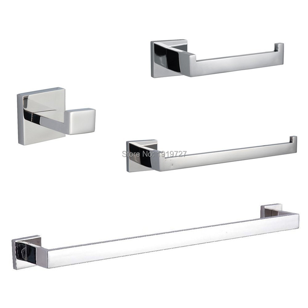 Bagnolux Stainless Steel 304 Bathroom Accessories Set Single Towel Bar Robe Hook Toilet Paper Holder Towel Ring Polished Finish leyden towel bar towel ring robe hook toilet paper holder wall mounted bath hardware sets stainless steel bathroom accessories
