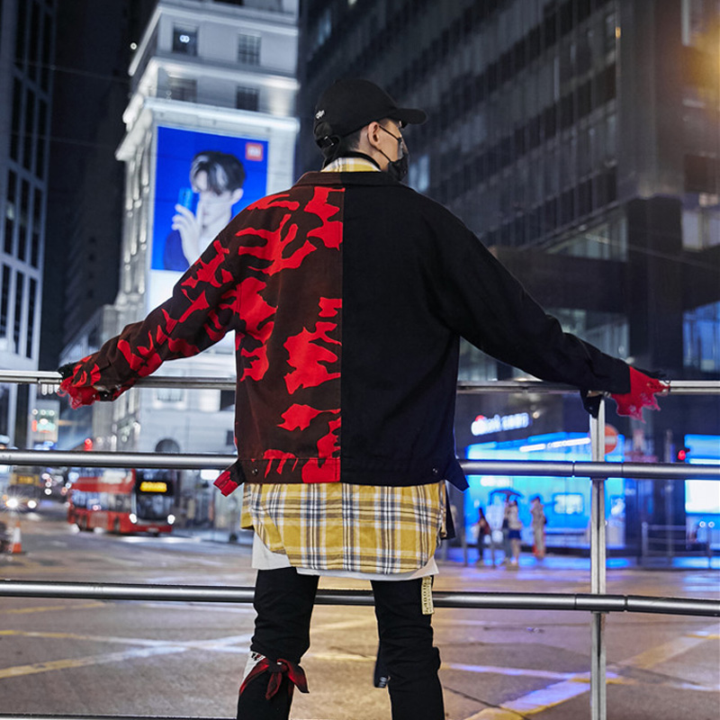 Rouge Épissage Drop Veste Coton Hommes Et Streetwear Manteaux Red Black Bomber Vestes Shipping Noir Automne Denim gcqwqYUr0