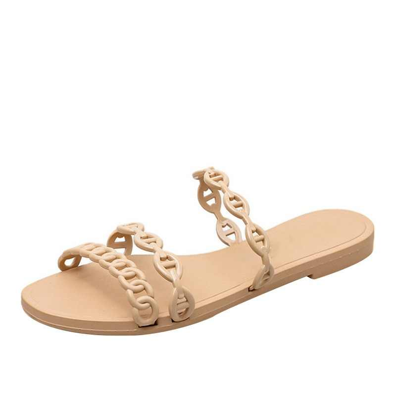 Women Summer Flat Slippers Chain Beach Shoes Casual Gladiator Flip Flops 2019 New Fashion Comfort Outdoor Ladies Slip on