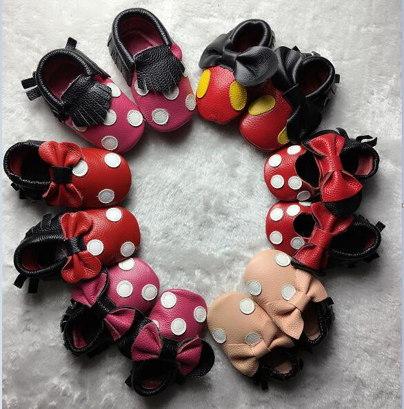 2016 Genuine Leather Fringe Bow Polka Dot Baby Moccasins Home Mickey and Minnie Baby Soft Shoes First Walker Newborn Baby Shoes