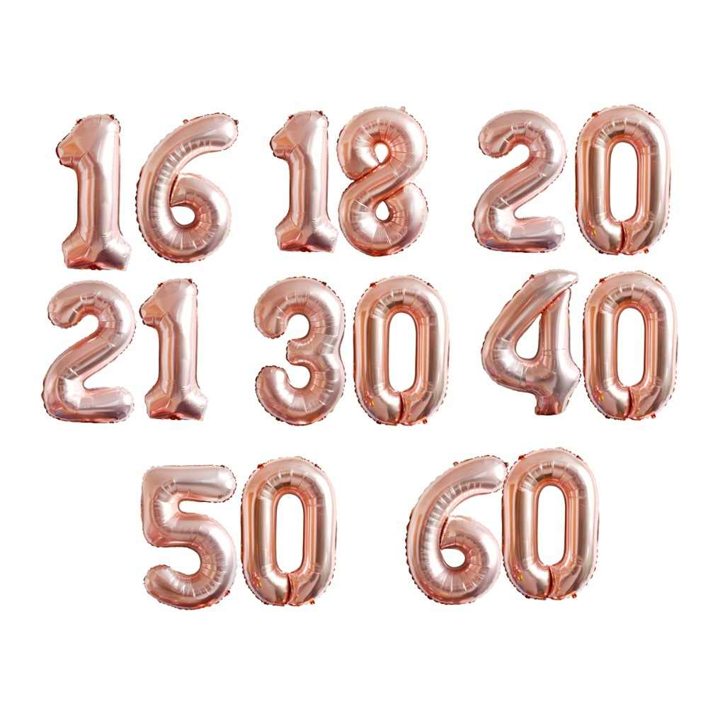 FENGRISE 18th 20th 21st 30th 40th 50th Birthday Balloons Anniversary Rose Gold Balloon Number Figure