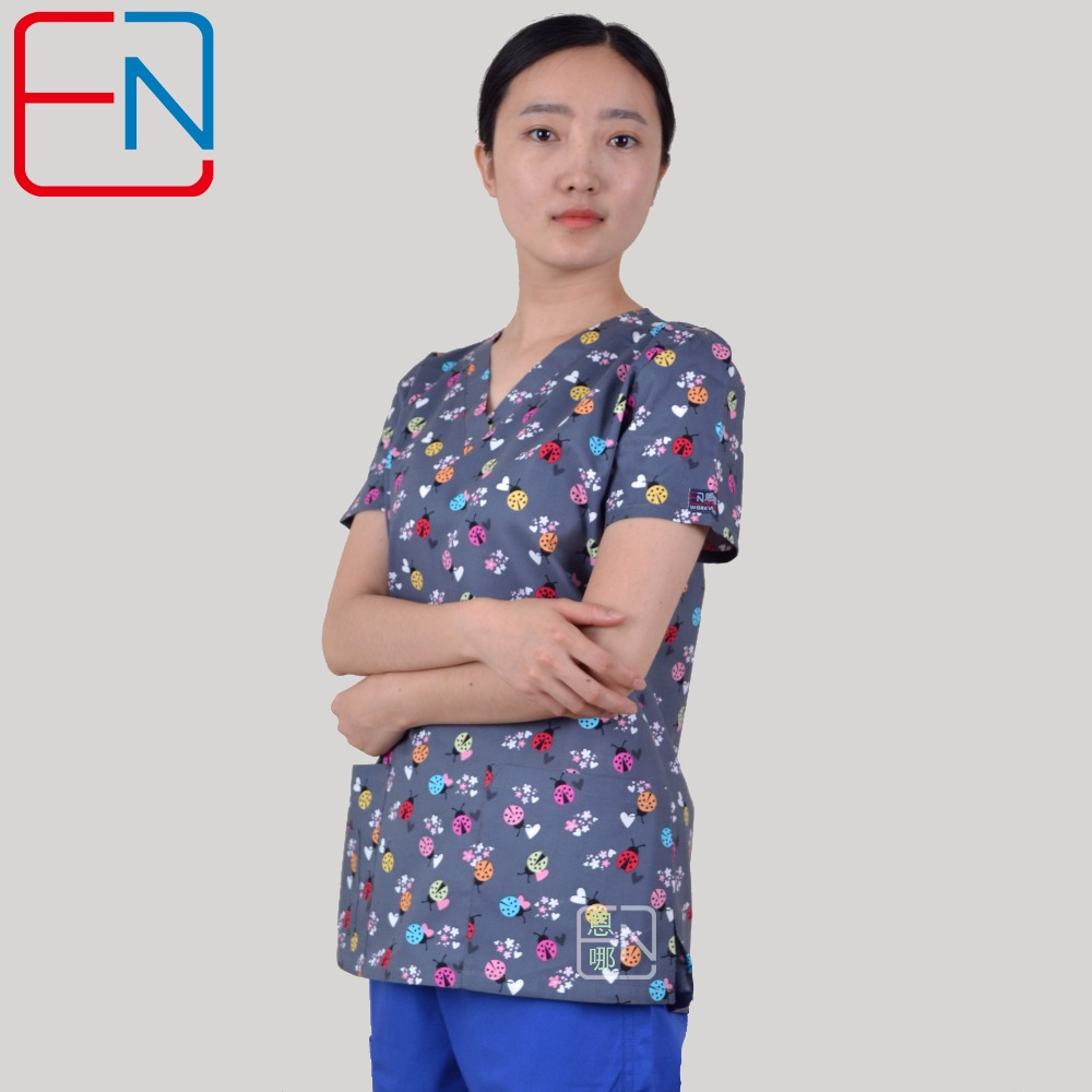 Hennar Brand Medical Scrub Tops For Women Surgical Scrubs,scrub Uniform In 100% Print Cotton