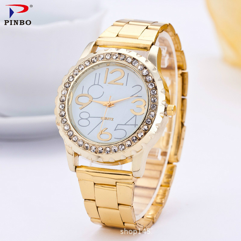 Luxury Brand Women Watches Women Quartz Analog Clock Ladies Gold Stainless Steel Casual Wrist Watch Female Montre Femme PINBO new women ladies stainless steel band gold watch 2017 fashion luxury analog quartz bracelet watches montre femme reloj