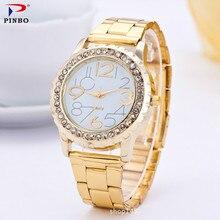 Элитный бренд Для женщин Часы Для женщин Аналоговые кварцевые часы женские золотые Нержавеющаясталь Повседневное наручные часы женские Montre Femme pinbo