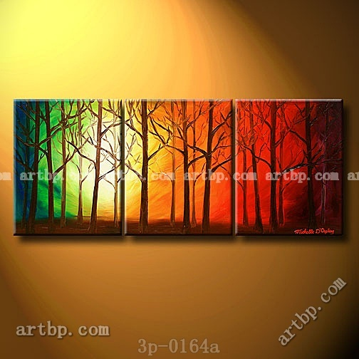 The Heavenly Woods Oil Painting On Canvas Art Wall Decoration 3 Panel Pcs Set