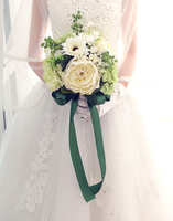 Top Quality 2015 New Hand Made White Green Hydrangea Rose With Long Ribbon Bridal Bridesmaid Wedding