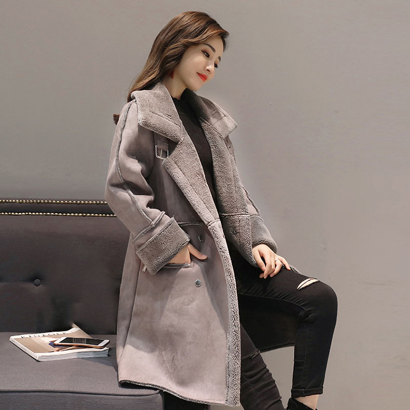 2018 Women's Winter Lamb cashmere   Trench   coat Outerwear thicken Winter keep Warm Suede long Coats for Women Double-breasted