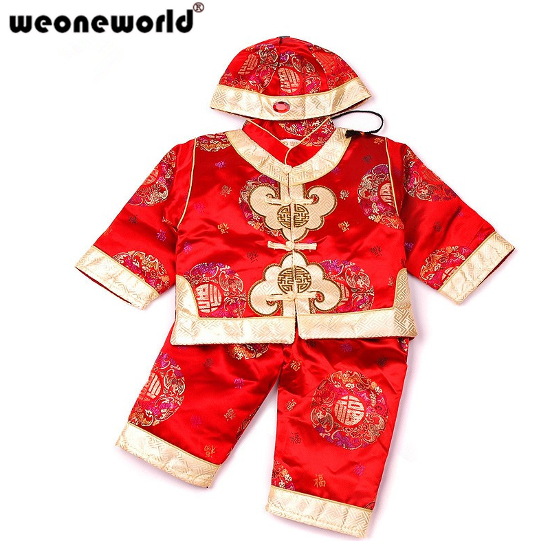 42998de171f WEONEWORLD Chinese Style Traditional Embroidery Kids Clothes New Year Baby Boys  Clothes Cotton Suit Children Thickened