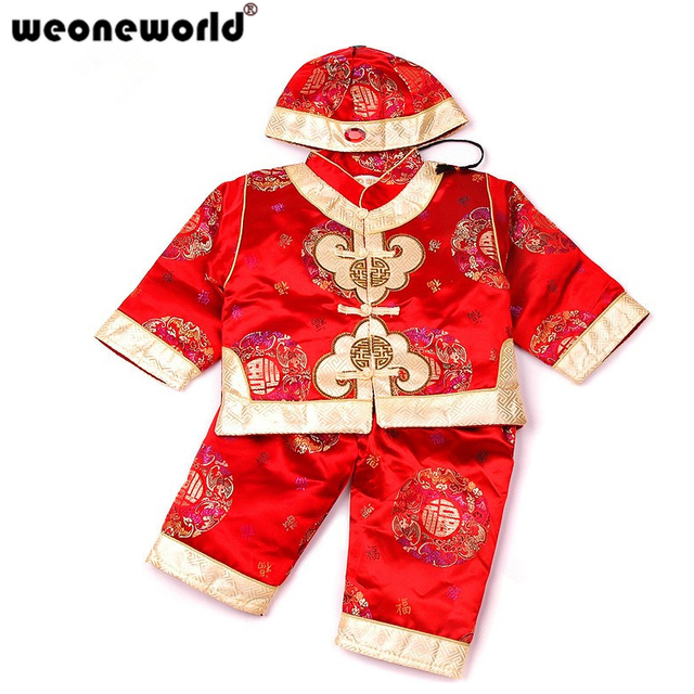 adc669d3a WEONEWORLD Chinese Style Traditional Embroidery Kids Clothes New Year Baby  Boys Clothes Cotton Suit Children Thickened Costume