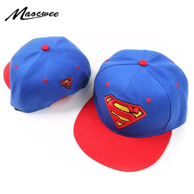 7552c3334f9 2018 New Brand Children Superman Snapback Hats Baseball Cap Boys And Girls  Kids Fashion Hip Hop