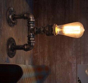 רטרו לופט סגנון מים צינור מנורת תעשייתי בציר קיר אור גופי LED אדיסון פמוט קיר בית תפאורה תאורת Luminaire