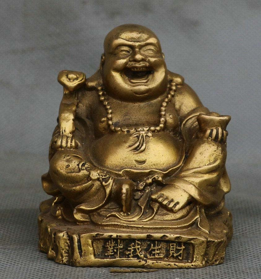 New Chinese Fengshui Copper Happy Laugh Maitreya Buddha Yuanbao Ruyi Bat StatueNew Chinese Fengshui Copper Happy Laugh Maitreya Buddha Yuanbao Ruyi Bat Statue