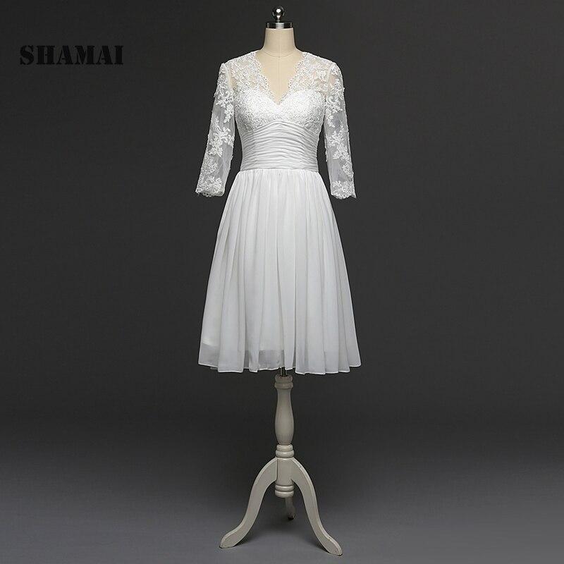 Ernstig Shamai Prom Dress Echte Foto Plus Size Robe De Soiree Chiffon Bruid Banket Elegante Knie Lengte Party Prom Dress Nieuwe Collectie