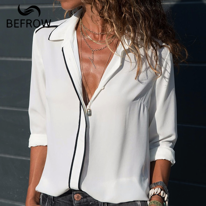 BEFORW Fashion 2018 Autumn Long Sleeve Office Blouses Tops Women Chiffon Blouse Shirt Ladies Casual Top OL Style Slim Blusas