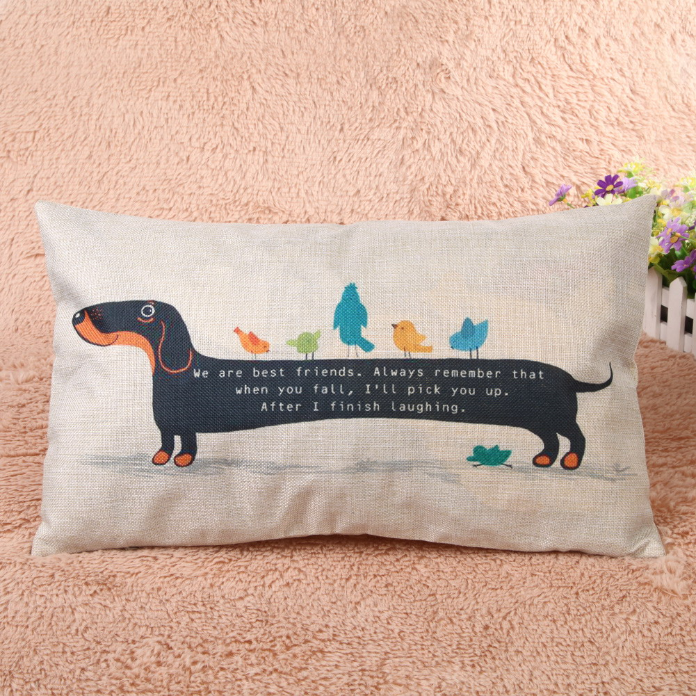 Funny Dachshund Linen Cushion Cover 1
