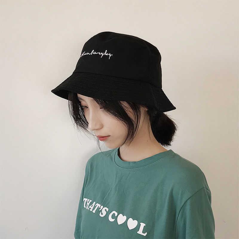 e5efb5d414e ... ring letter Harajuku Bucket Hat Men Women BTS k pop bob Outdoor Beach sun  hat black ...