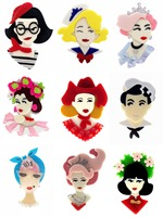 SexeMara 10Piece Wholesale Acrylic Girls Brooch For Woman Men Figure Princess Girl Unique Design Brooches Badegs Jewelry