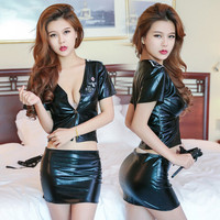 Woman Sexy Imitation Leather Lingerie Hot Babydoll Erotic Sexy Black Underwear Fashion Tight Leather Skirt
