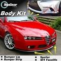 Deflector pára Lábio Lábios Para Alfa Romeo 159 AR 2005 ~ 2015 Frente Saia Para TOPGEAR Amigos Carro Tuning Spoiler/Body Kit/tira
