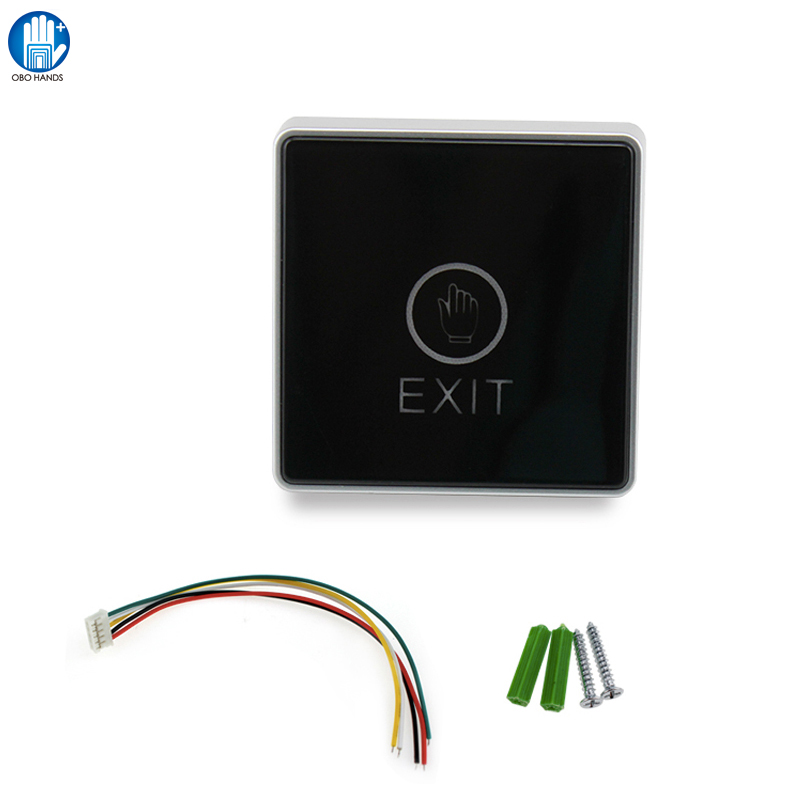 Billet Black Touch Exit Button With Blue Led Touch Light Switch For Door Acccess Control System bqlzr dc12 24v black push button switch with connector wire s ot on off fog led light for toyota old style