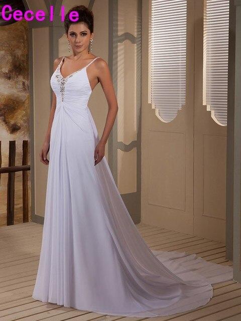 Informal Wedding Dresses.Us 130 71 30 Off 2019 White A Line Chiffon Informal Wedding Dresses With Spaghetti Strap Long Train Beading Wedding Gowns Vestido De Novia In