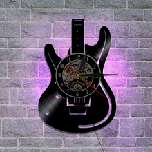 1Piece Musical Instrument Vinyl Wall Clock Electric Guitar Laser Etched Shadow Art Unique Decoration Handmade Gift For Guitarist