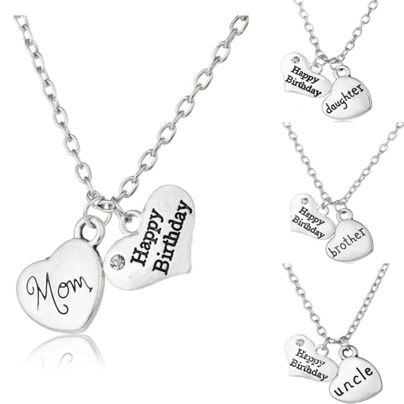 Double Heart Crystal Silver Plated Pendant Necklace Chain Jewelry Women Gift New
