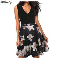 Oxiuly Women Vintage 1950s Style Dress Floral Print White Patchwork Party Dress Black Elegant Female Sexy