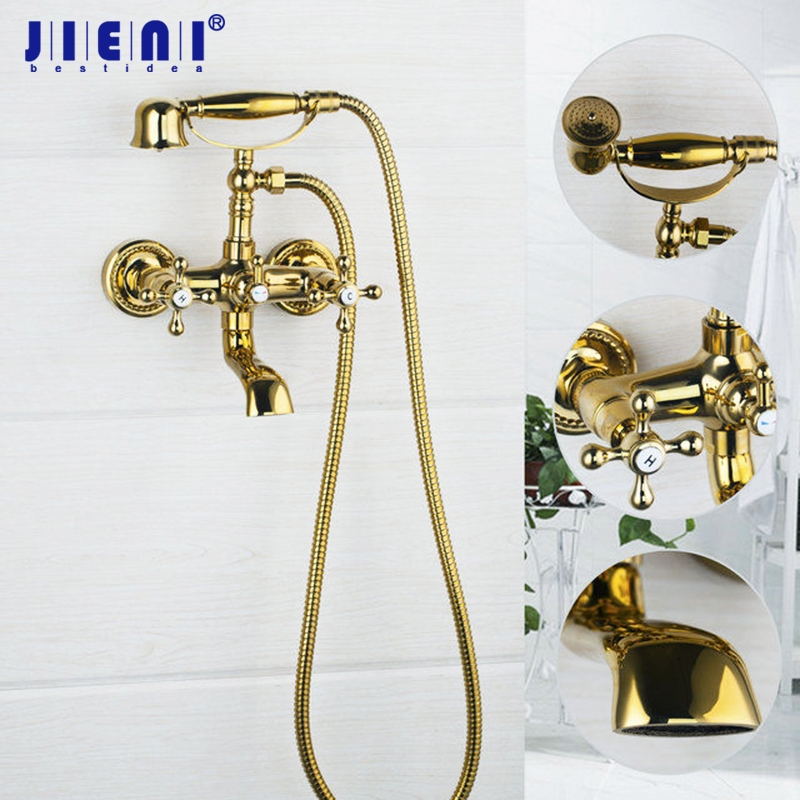 Luxury Wall Mounted Double Handles Polished Golden Shower Bathroom Basin Sink Bathtub Torneira Tap Mixer Faucet polished chrome double cross handles wall mounted bathroom clawfoot bathtub tub faucet mixer tap w hand shower atf902