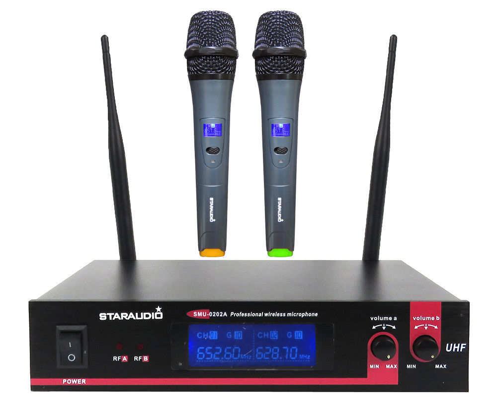 STARAUDIO 2CH Pro DJ Stage Church Home Party UHF Wireless Dual Handheld Microphone System SMU-0202A staraudio smu 0202a karaoke wireless handheld dual channel transmitter microphone set with 2 mic for home ktv speech
