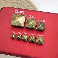 Бронзовая Пирамида 4 когти для кожаных квадратных заклепок и шипов для одежды remaches para cuero tachas para ropa