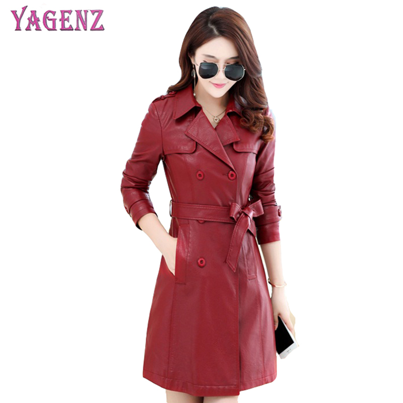 Autumn Winter Women Leather Jacket 2018 High Quality Slim Long Section PU Leather Jacket Belt Plus Size Bomber Leather Coat 4XL