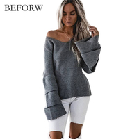 BEFORW 2016 New Fashion Style Slim Sweater Thin V Neck Long Sleeved Solid Color Knit Sweater