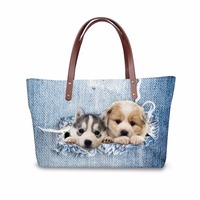 Customized Blue Cute Printing Animal Denim Cat Handbag for Women Casual Ladies Shoulder Messenger Bag Neoprene Large Capacity