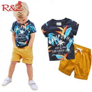 R & Z Ragazzi Insiemi Dei Vestiti 2019 del Cotone di Estate Manica Corta Stampato Lettere T-shirt + Pants 2 pcs per I Bambini abbigliamento Per Bambini(China)