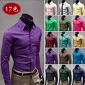 Factory direct sales 20 colors quality anti-wrinkle long sleeve shirt Business fashion casual solid color gentry shirt men M-5XL