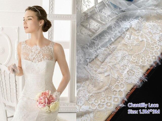 3meters/lot Bridal dress French chantilly lace fabric Eyelash lace ...
