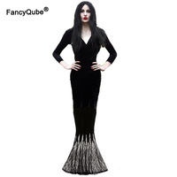 Dark Gothic Evil Dead Day Witch Cos Costume Women Horror Black Maxi Lace Dress Mermaid Tail Floor Dress Halloween Death For Lady