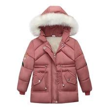 Winter Warm Verdicken Pelz Kragen Stickerei Lange Kind Mantel Kinder Oberbekleidung Winddicht Fleece Liner Baby Mädchen Jacken 110 130cm