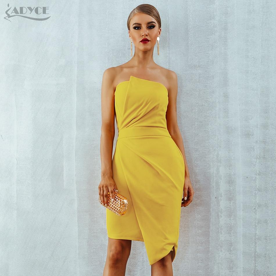Adyce Yellow Party Runway Dress Women Summer Vestidos Verano 2019 Sleeveless Strapless Elegant Side Zipper Celebrity